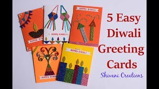 5 super Easy Handmade Cards for Diwali/ DIY Greeting Card / Diwali cards