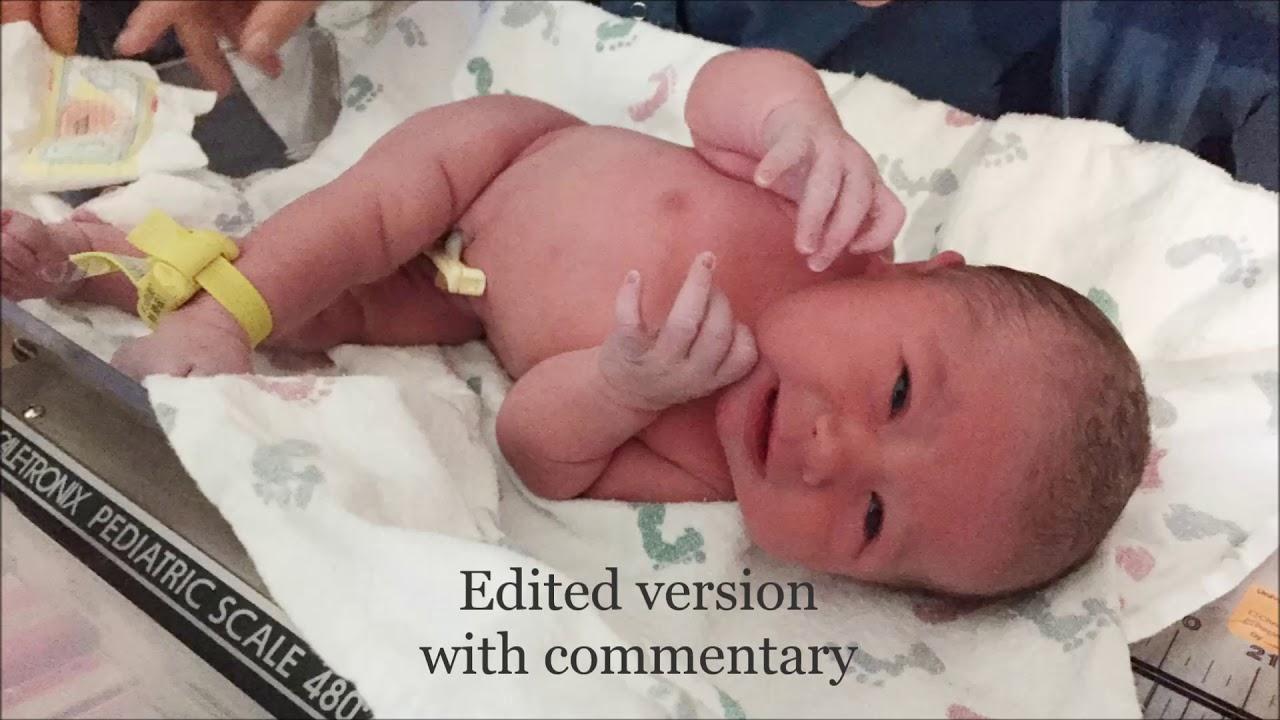 Upright primip frank breech birth - YouTube