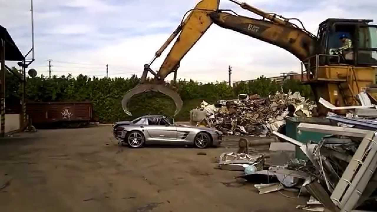Mercedes Sls Amg Being Completely Destroyed In A Scrap