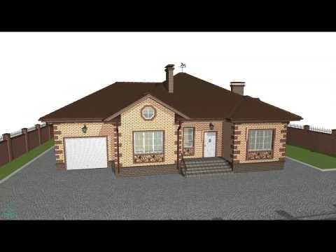 Проект одноэтажного дома с террасой и гаражом  C-019-ТП