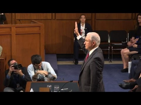 US attorney general Sessions sworn-in before Senate testimony