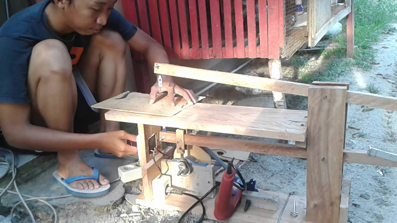 Gergaji Triplek Tenaga Mesin Bor Scroll Saw Drill Powered Diy