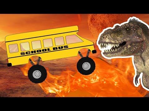 School Bus Monster Truck CRAZY DINOSAUR   Monster Truck videos for kids   Carskids TV