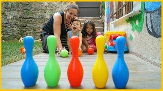 YANKI VE RÜYA İLE BOWLİNG OYNADIK l Learn Colors and Play Bowling With Kids