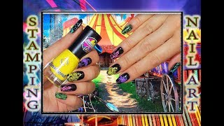 Стемпинг Цирк лаками Dance Legend с пластиной от MoYou London CIRCUS / Stamping nail  art.