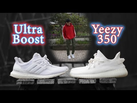 Triple White Comparison | Yeezy 350 V2 vs Ultra Boost | On-Feet + Outfit