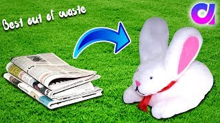Download Video how to make cute rabbit from waste newspaper | Best out of waste | Artkala 285. MP3 3GP MP4