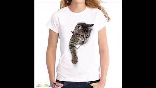 ❎ Tee Shirt  pour Femme motif Chat 😻