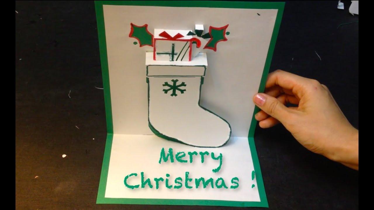 Très Christmas Stocking Pop Up Card, Kirigami Tutorial - YouTube MM43