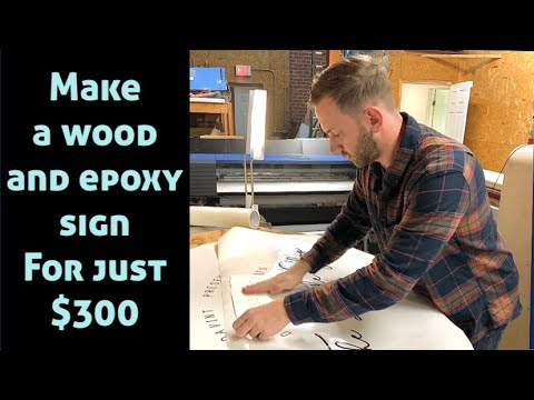 DIY. Pour epoxy resin into custom reclaimed barn wood marquee. Build a $300 sign.