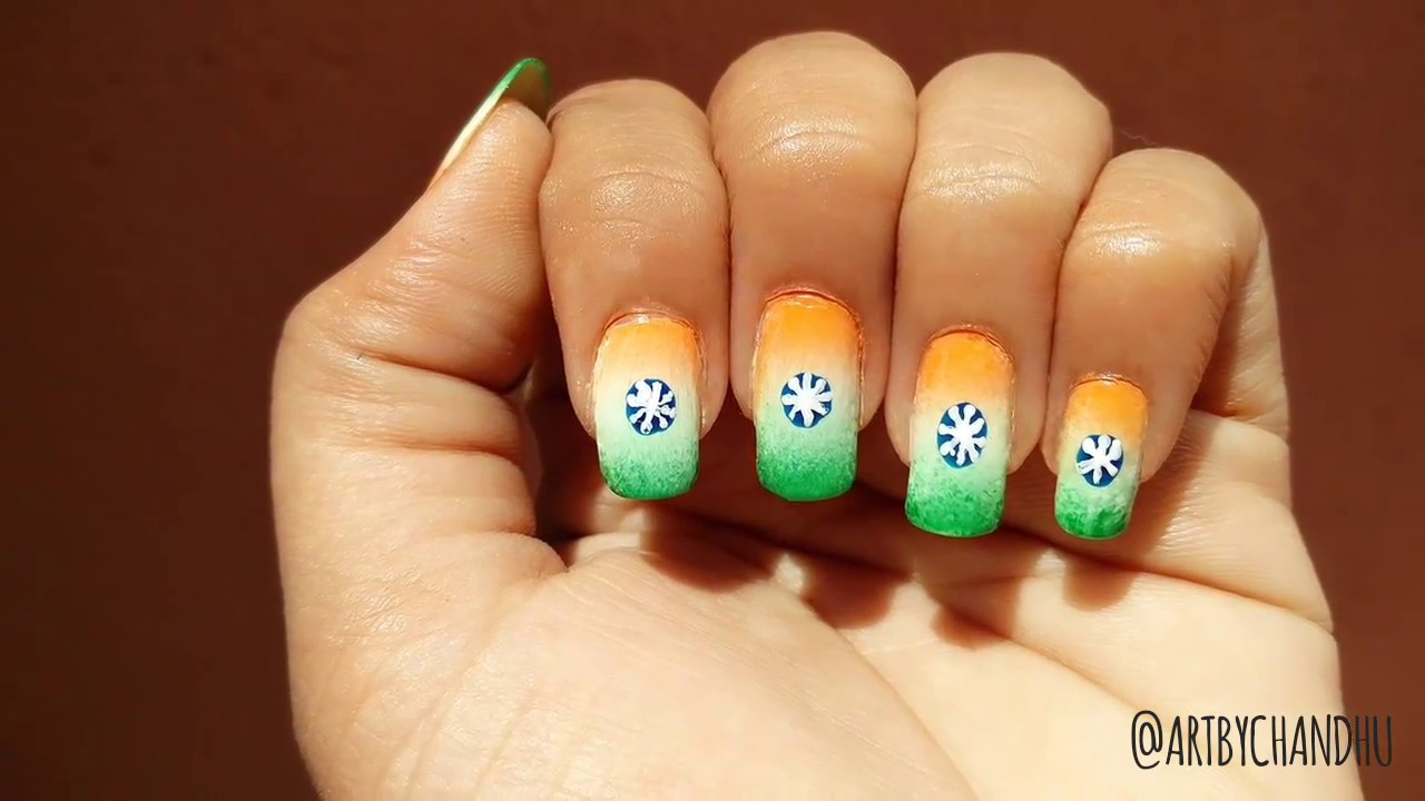 ArtByChandhu - Indian national flag nail art - Indian Independence ...