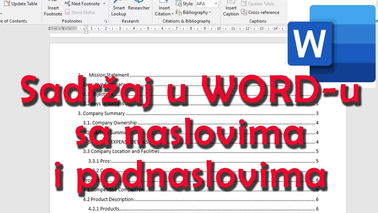 Download Sadržaj u word u sa podnaslovima i naslovima - kako pravilno napraviti sadržaj Word
