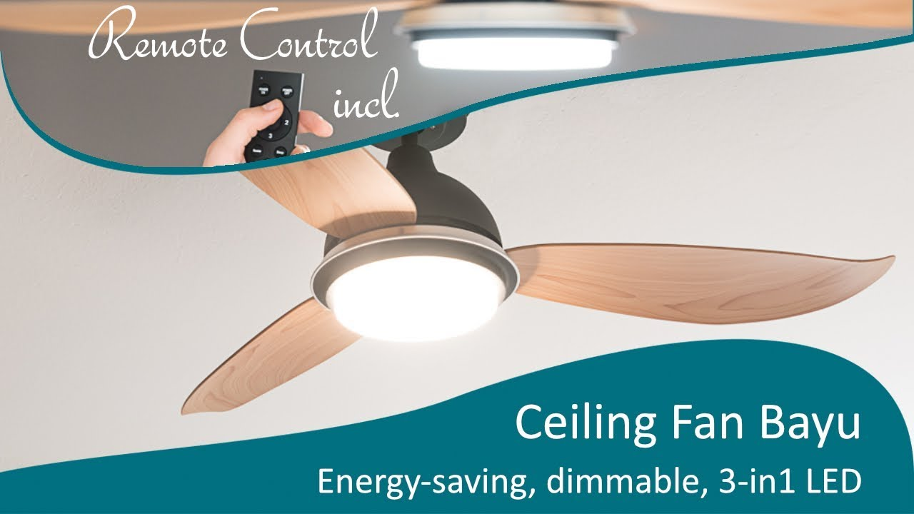 Energy saving ceiling fan bayu 122 cm with led lighting youtube energy saving ceiling fan bayu 122 cm with led lighting aloadofball Gallery