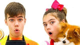 Nastya Artem e Mia banham seu filhote vídeo para crianças