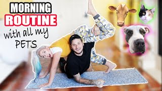 MORNING ROUTINE WITH ALL MY PETS ! Skyes Family