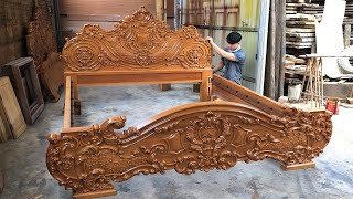 Latest Design Princess Bed With Monolithic Hardwood || Extremely Wonderful Carved WoodWorking Art