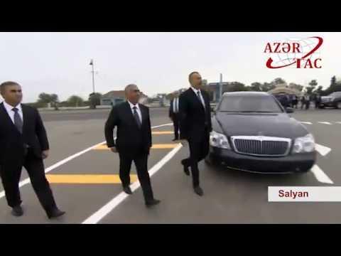 Prezident İlham Əliyev Salyan rayonunun Çuxanlı avtomobil yolunun açılışında iştirak edib