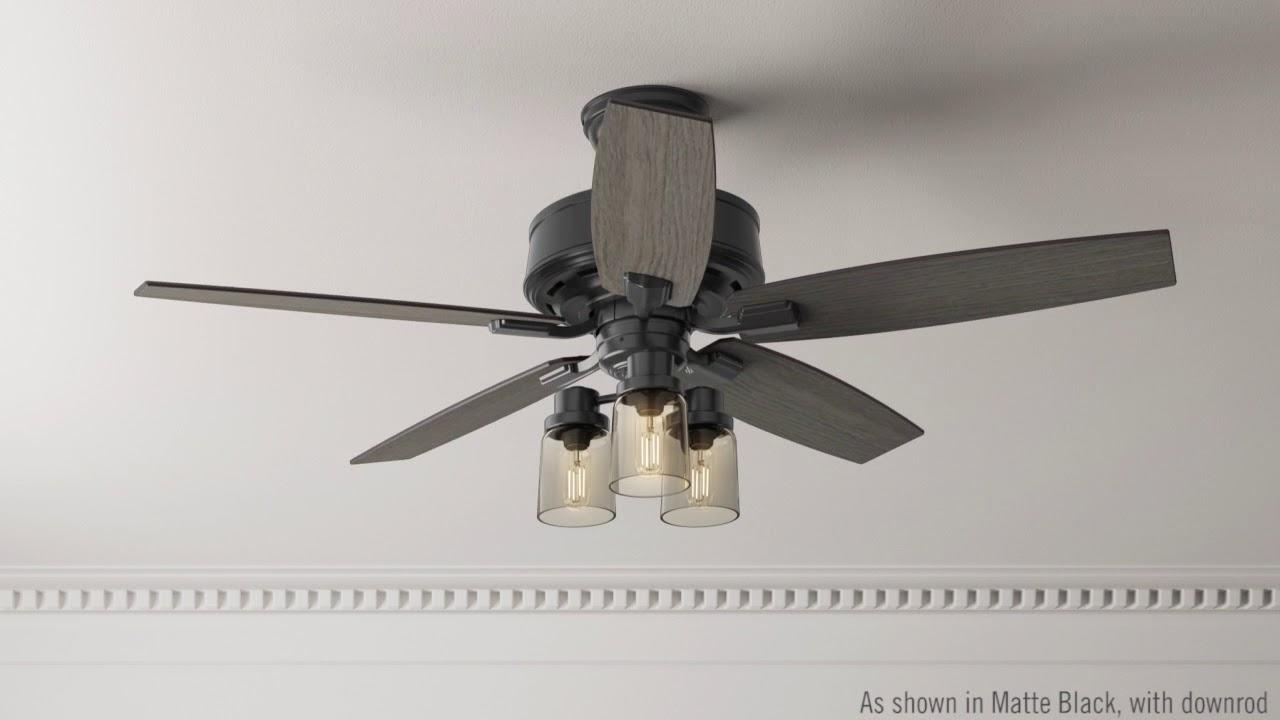 Hunter 54189 52 Bennett Matte Black Ceiling Fan With Light With
