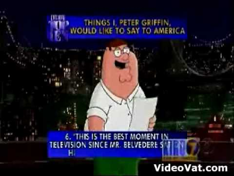 Family guy: top 10 things to America-David Letterman Show.