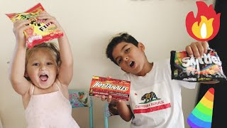 Kids react to trying different spicy hot candies