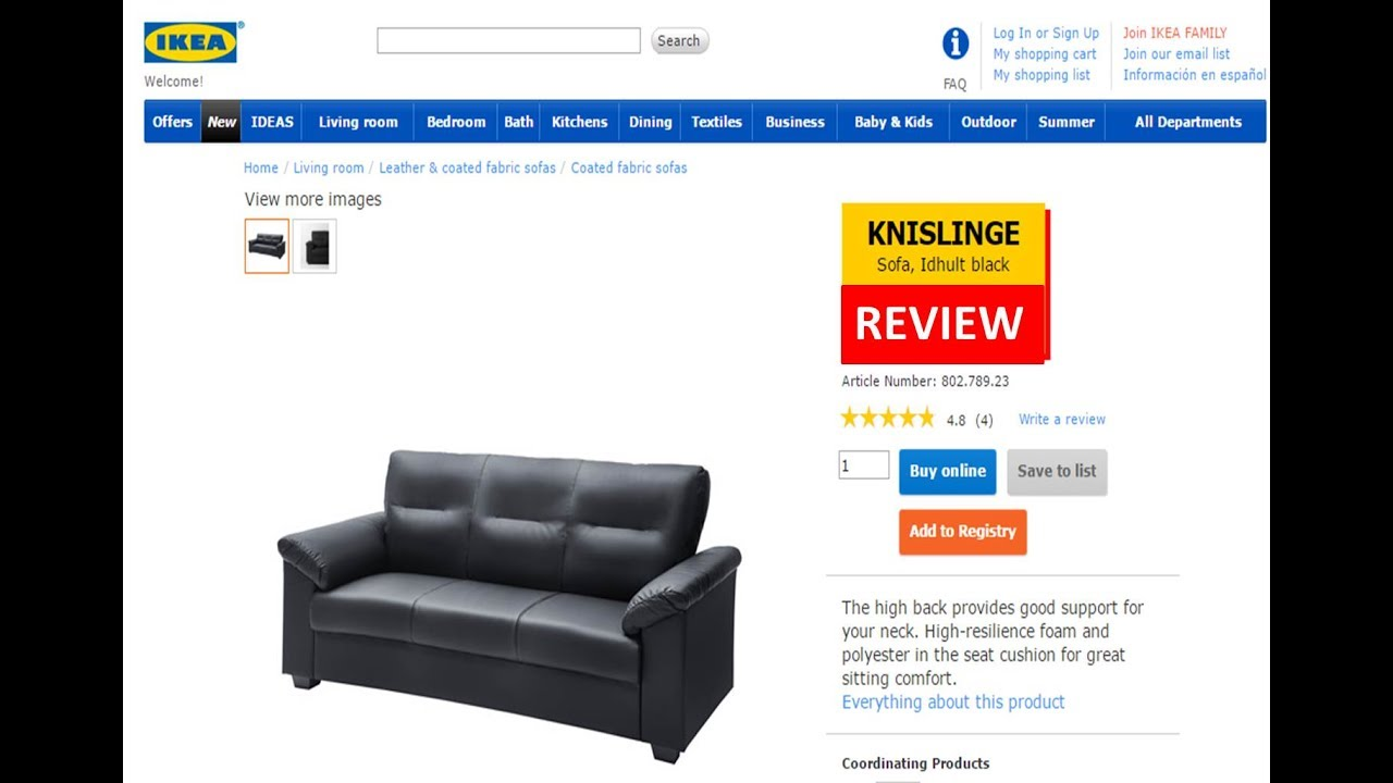 Knislinge Idhult Black 3 Seater Ikea Sofa Review Youtube