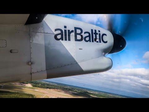 Air Baltic Bombardier Dash Q400 POWERFUL TAKEOFF from Helsinki Airport (HEL)