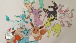 How to draw Pokemon: No. 133 Eevee and all its evolutions (REMAKE)(Hey guys, its a remake of my older video How to draw Eevee. This drawing features Sylveon the new fairy type Pokemon! Hope you guys like it :D How to draw ..., 2013-06-19T10:14:49.000Z)