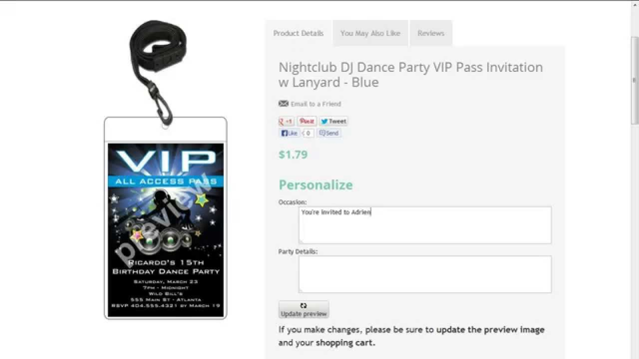 DJ Dance Party VIP Pass Invitations - YouTube