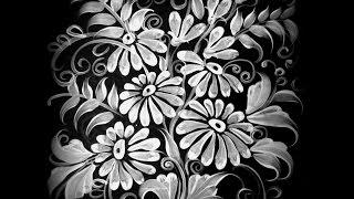 Маргаритки на чёрном фоне. Marguerite white on black.