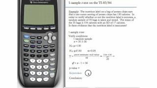 One-Sample t-Test for TI-83 & TI-84