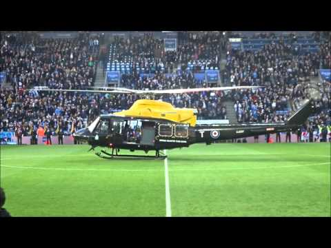 Helicopter delivering the match ball! - Leicester City vs Watford - King Power Stadium