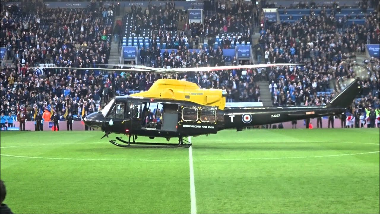 Helicopter delivering the match ball! - Leicester City vs ...