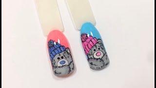 Дизайн ногтей Мишка Тедди