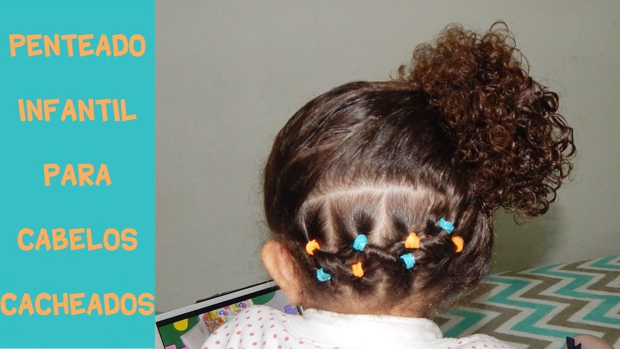 Penteado Infantil Para Cabelos Cacheados Coque Lateral Com Elastiquinhos