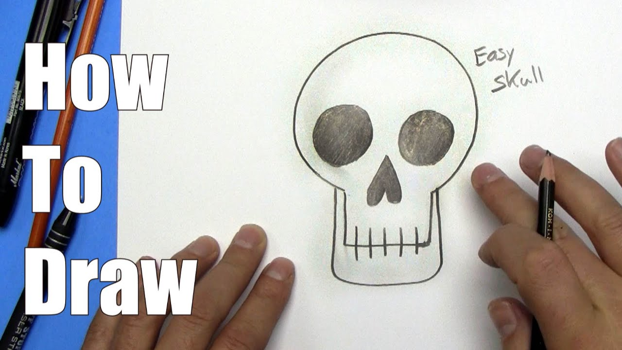 How To Draw An Easy Skull Step By Step Youtube