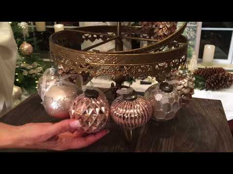 Set of 12 Geometric Glitter Glass Ornaments