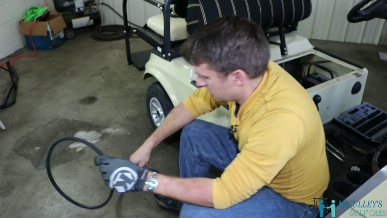 how to replace your starter generator belt on the 2004 club car ds gas golf cart [ 1280 x 720 Pixel ]