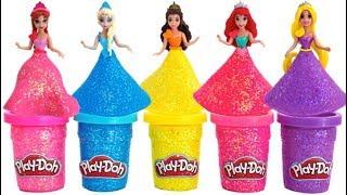 Learn Colors Play Doh Sparkle Disney Princess Magiclip Dresses