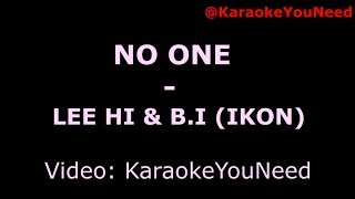 [Karaoke ]LEE HI - '누구 없소 (NO ONE) (Feat. B.I of iKON)