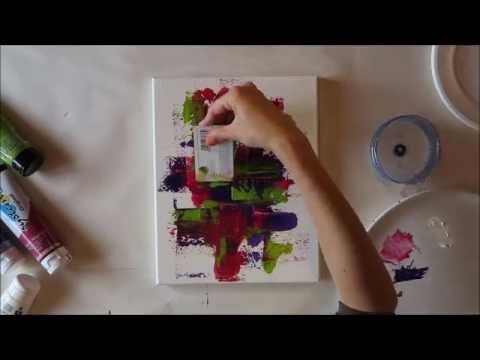diy peinture abstraite avec une vieille carte credit youtube. Black Bedroom Furniture Sets. Home Design Ideas