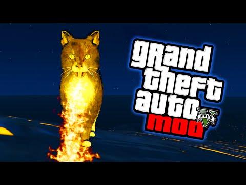 NEW GTA 5 Mods - FLAMETHROWER CAT MOD! GTA 5 Mod Funny Moments! (GTA V PC)