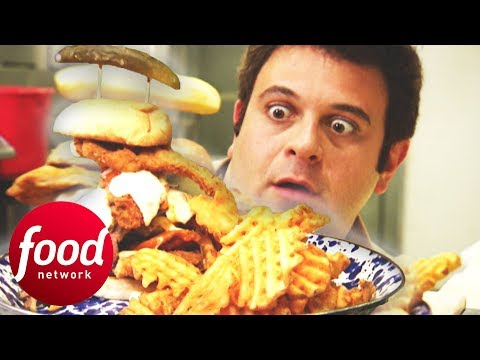 Adam Struggles To Beat This 5 LB Sandwich Filled With All Kinds Of BBQ Meats | Man V Food
