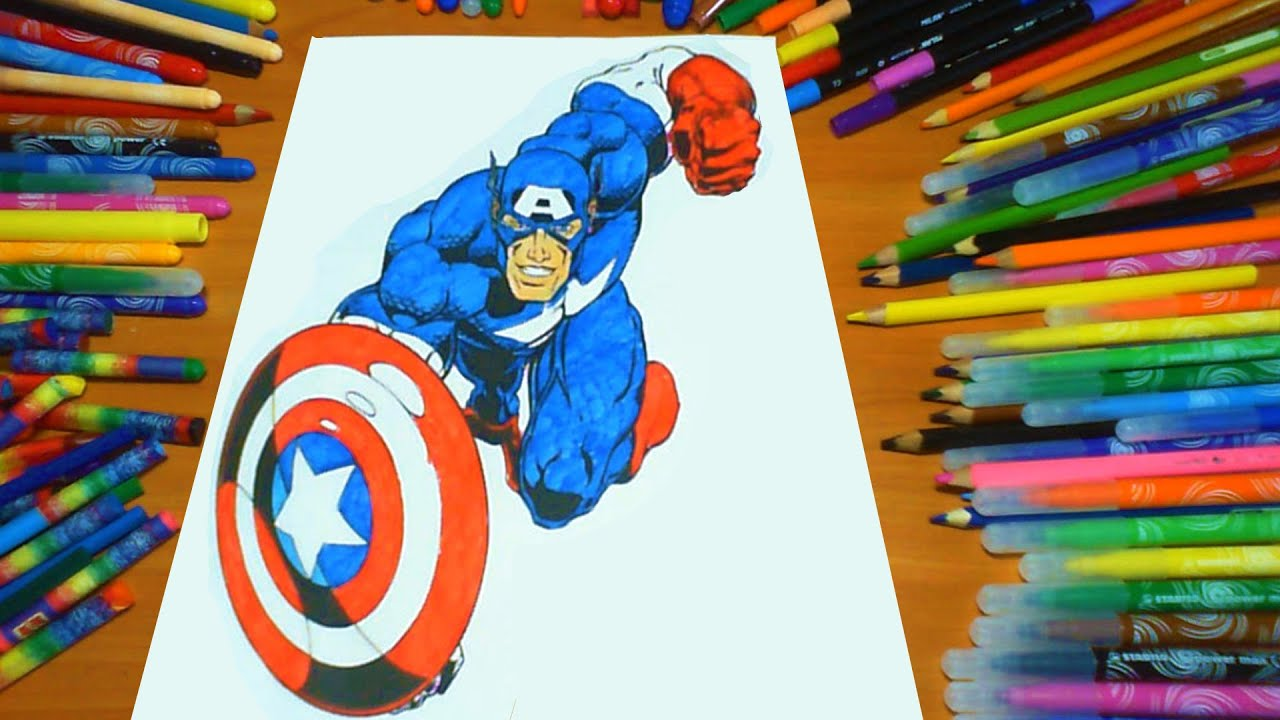 captain america new coloring pages for kids colors coloring colored markers felt pens