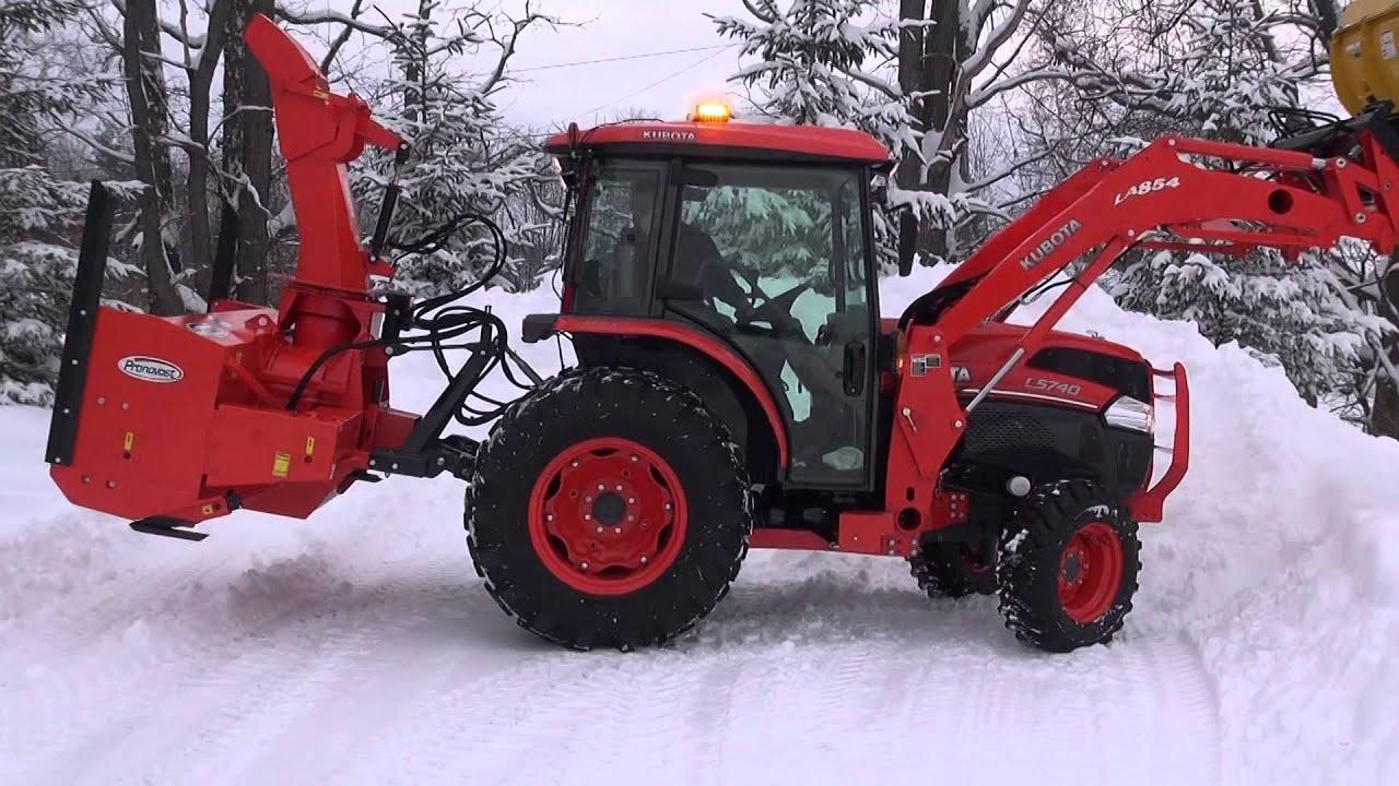 Kubota Snow Plow >> Kubota L 5740 Plowing & Blowing Snow - YouTube