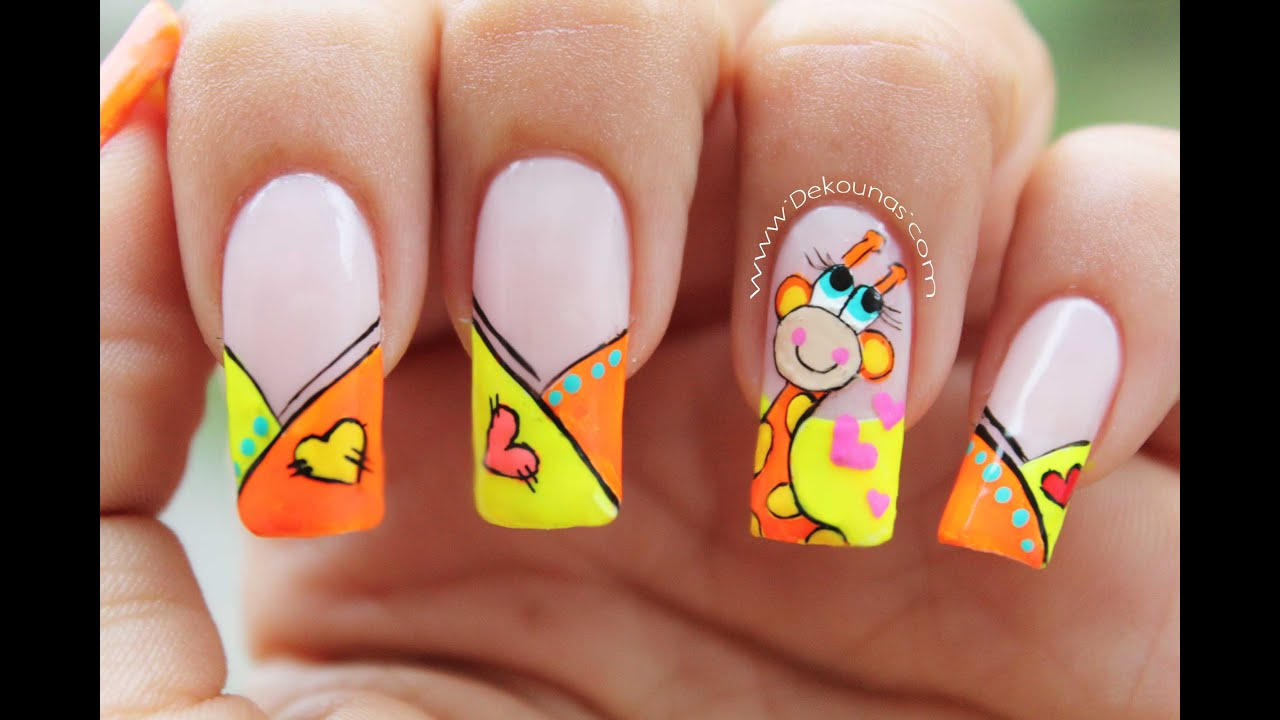 Decoraci n de u as jirafa giraffe nail art youtube for Decoracion unas
