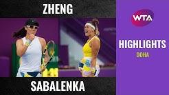 Aryna Sabalenka vs. Zheng Saisai | 2020 Doha Quarterfinal | WTA Highlights