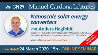 The icn2 held its first webminar, and it worked smoothly! in this talk prof. anders hagfeldt overviewed virtue of nanomaterials for solar energy conversi...