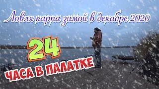 Ловля карпа зимой в декабре 2020 24 часа один на пруду дикий холод HD