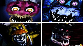 Five Nights at Freddy's 4: ALL ANIMATRONICS JUMPSCARES NIGHT 2 FNAF 4