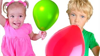 Lev and Family pretend play in magick air baloons   Children songs